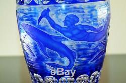 Ancienne Vase Cristal Double Couleur Bleu Taille Grave Dégage L'acide Arnstadt