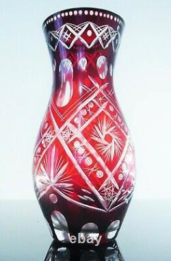 Ancienne Vase Cristal Double Couleur Bordeaux Taille Poli Bohème Avant 1936