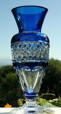 Ancienne Vase En Cristal Couleur Bleu Taille Double Couche Val St Lambert Signe