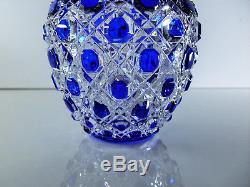 Ancienne Vase En Cristal Couleur Double Bleu Taille Modèle Diamant Baccarat
