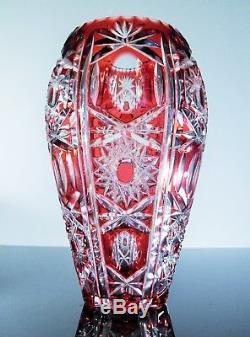 Ancienne Vase En Cristal Couleur Double Couche Rouge Taille Boheme