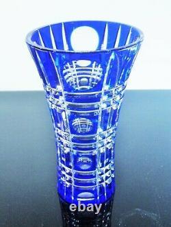 Ancienne Vase En Cristal Double Couche Couleur Bleu Et Blanc Taille Lorraine