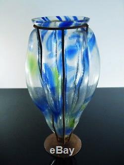 Ancienne Vase En Fer Forgé Pte De Verre Souffle Art Déco Dèlatte Nancy Muller
