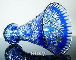 Ancienne XXL Grand Vase Cristal Double Couleur Bleu Et Blanc Taille Bohème