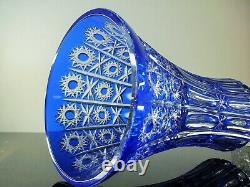 Ancienne XXL Grand Vase Cristal Double Couleur Bleu Massif Taille Lorraine 43cm