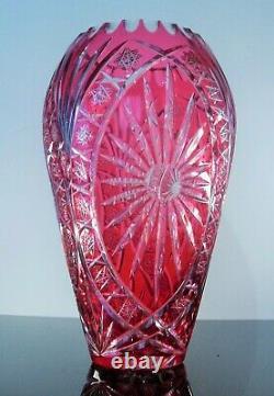 Ancienne XXL Vase En Cristal Double Couche Couleur Rose Taille Bohème 36cm