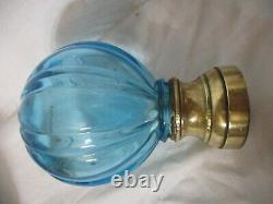 Ancienne authentique Boule D'escalier XIXè en verre ou cristal soufflé Bleu BE