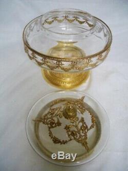 Ancienne boite à bijoux bonbonnière bronze laiton cristal ou verre