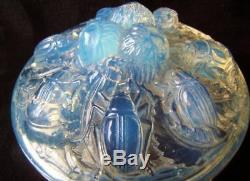 Ancienne boite a poudre verre henri saumont style lalique art déco 1920 scarabée