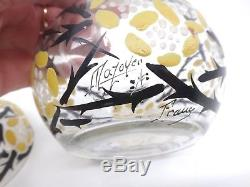 Ancienne boite bonbonnière en verre émaillé signé Mazoyer Art Deco