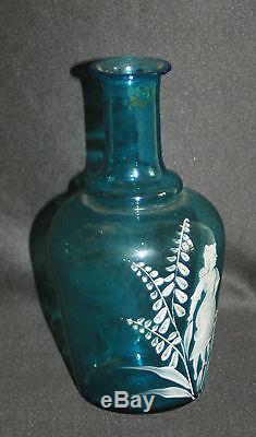 Ancienne bouteille verre soufflé émaillé peint mary grégory fin XIX ème