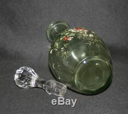 Ancienne carafe Legras verre soufflé émaillé verte décors de fleurs fin XIX ème