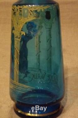 Ancienne carafe en verre émaillée danseuse Cake Walk fin XIX ème Legras