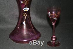 Ancienne carafe et verre Legras verre soufflé émaillé violet fleurs fin XIX ème