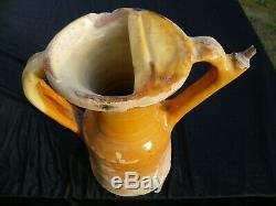 Ancienne carafe pichet barque XVIII°voir XVII°haute époque terre cuite vernissée