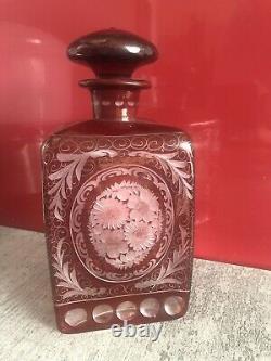 Ancienne carafe verre cristal de Bohême Egermann rouge rubis Époque Napoléon III