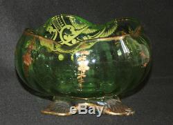 Ancienne coupe Legras verre soufflé émaillé or art nouveau fin XIX ème