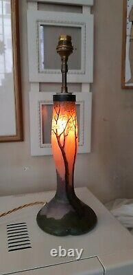 Ancienne et authentique lampe en pâte de verre vers 1900 signée LEGRAS