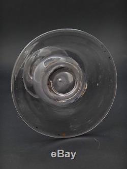 Ancienne grande lampe à huile en verre soufflé lie de vin Provence XIXeme
