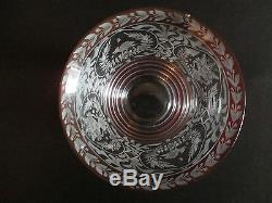 Ancienne grande verrine à confiture en cristal de bohème gravé fin XIX ème