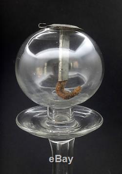Ancienne lampe à huile en verre soufflé Provence XIXeme (5)