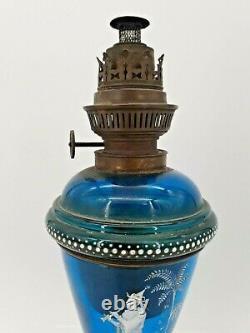 Ancienne lampe à pétrole en verre émaillée décor Mary Grégory