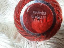Ancienne lampe catalyse avt lampe BERGER pharmacie L. MULLER. Cristal BACCARAT