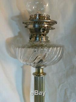 Ancienne lampe petrole baccarat colonne Hinks verre cristal bronze argenté 19eme
