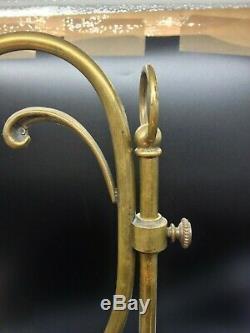 Ancienne lampe, pied réglable en bronze avec tulipe en pâte de verre Delatte