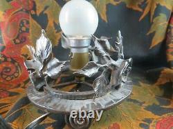 Ancienne lampe veilleuse pate de verre signée epok 1930 daum nancy france croix