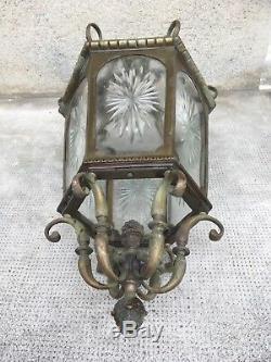 Ancienne lanterne en bronze verres taillés (cristal) antique lantern