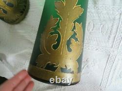 Ancienne paire de grand vase en verre soufflé à la canne art déco
