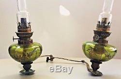 Ancienne paire de lampes à pétrole de piano en cristal ou verre taillé
