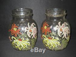 Ancienne paire de vase Legras verre soufflé émaillé fleurs fin XIX ème