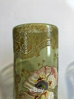 Ancienne paire de vase émaillé verre bleu décor fleurs orchidée Montjoye LEGRAS