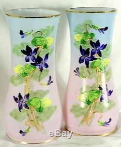 Ancienne paire de vases en opaline bleu Très beau décor, très belles couleurs