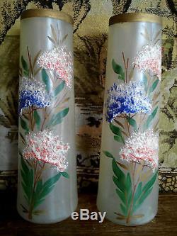 Ancienne paire de vases en verre émaillé XIXe