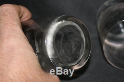 Ancienne paire de verre de mariage verre soufflé gravé colombe muguet XIX ème
