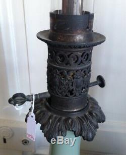 Ancienne paire lampes à pétroles en opaline verte XIXéme Napoléon III