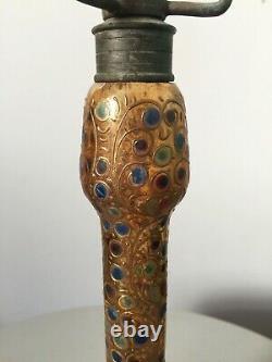 Ancienne rare lampe verre émaillé XIXème Lobmeyr ou Moser antique glass enamel
