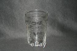 Ancienne timbale verre de communion cristal fleurs monogramme J XIX ème
