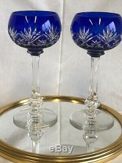 Anciennes 2 Verres A Vin Cristal Couleur Bleu Massenet Massenet St Louis