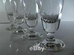 Anciennes 4 Grand Verre Absinthe Cristal Cotes Plates Baccarat St. Louis Art Deco