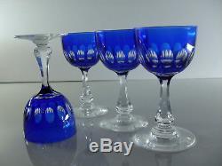 Anciennes 4 Verres En Cristal Double Couche Couleur Bleu Val St Lambert Olivier