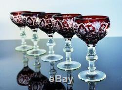 Anciennes 5 Verres A Vin En Cristal Double Couleur Taille Baccarat Art Déco