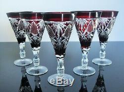 Anciennes 5 Verres A Vin Martini Cristal Double Couleur Taille Boheme Art Déco