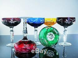 Anciennes 6 Coupes A Champagne Cristal Couleur Traube Taille Bohème