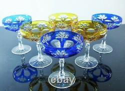 Anciennes 6 Coupes A Champagne Cristal Double Couleur Taille Boheme St. Louis