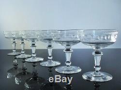 Anciennes 6 Coupes A Champagne En Cristal Grecque Dégagé À L'acide Baccarat