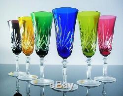 Anciennes 6 Flûtes A Champagne Cristal Couleur Nierstein Nachtmann Etiquet